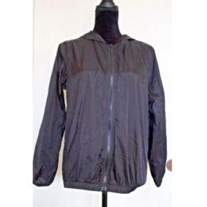 Brandy Melville Black Hooded Windbreaker Jacket OS